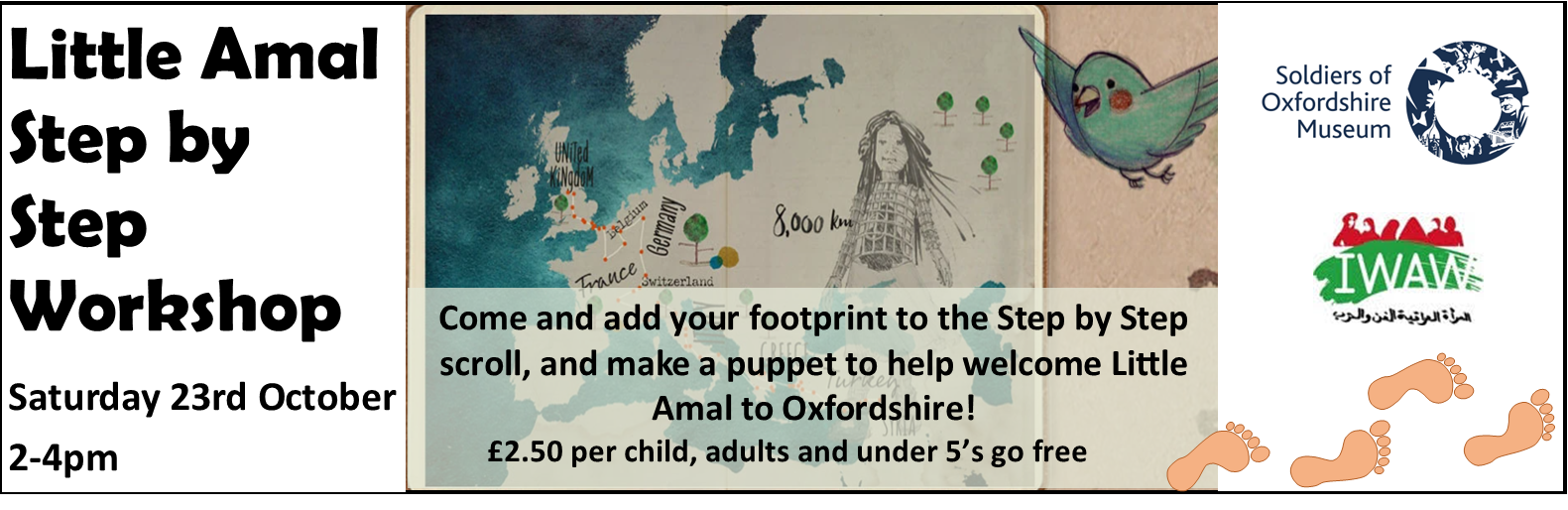 Add your footstep to the Step by Step scroll and welcome Little Amal in Oxfordshire!