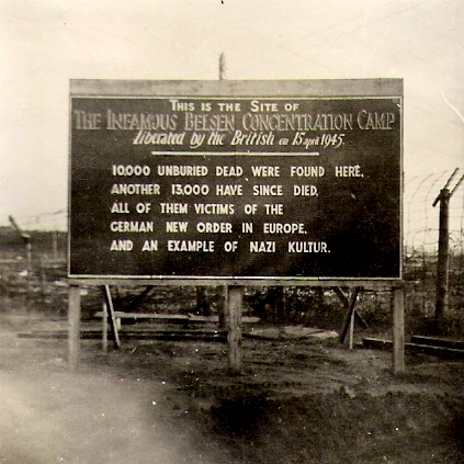 Sign erected by the British Army after the liberation of Bergen Belsen, April 1945