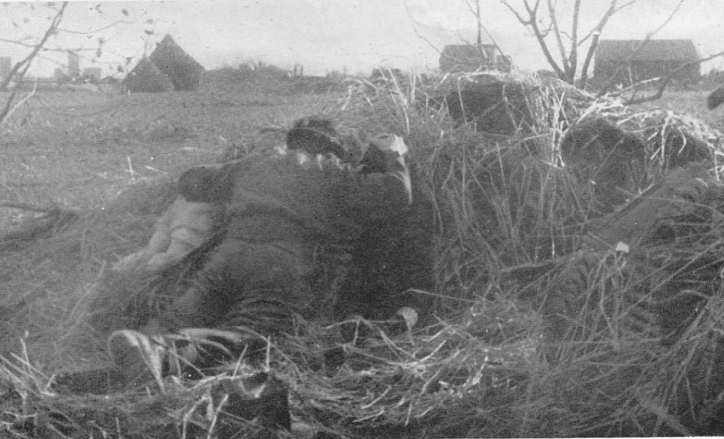 Cpl. Milsom keeps two dutch children under cover - 1st Bn, Oxf and Bucks, 1944