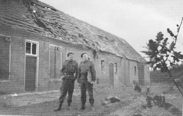 Captain E. C. Vicker and Lt. E. H. Woolven of 1st Bn, Oxfordshire and Buckinghamshire Light Infantry outside C Company HQ at Dun October 1944