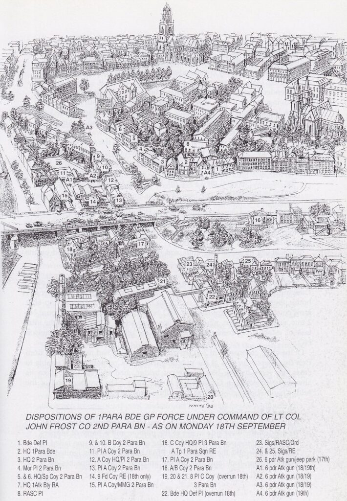 """Map from """"A Tour of the Arnhem Battlefields"""" by John Waddy"""